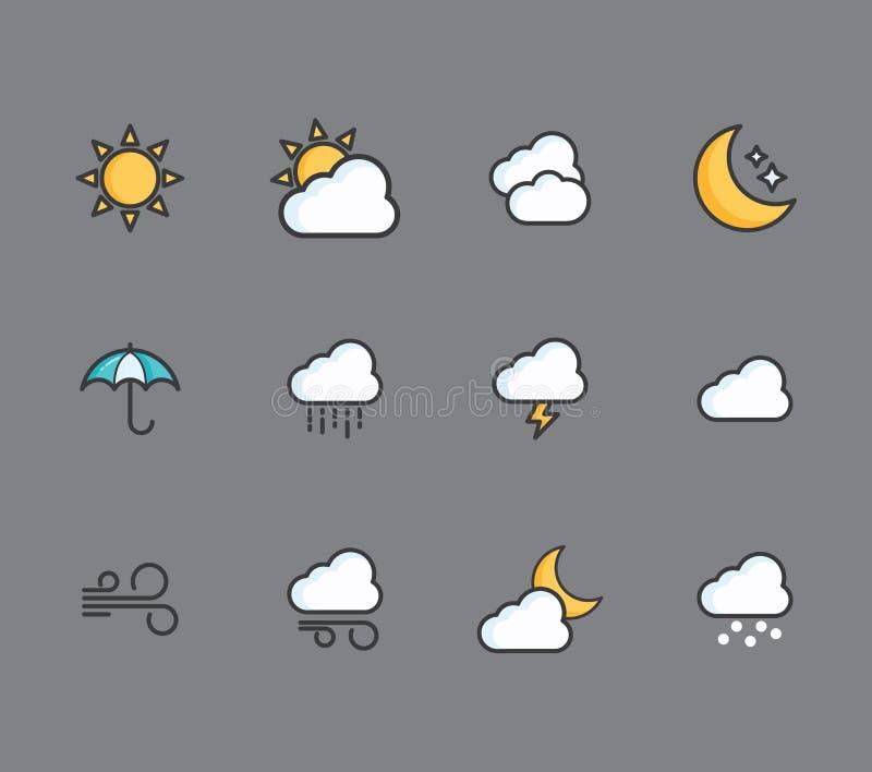 Комплект значков погоды иллюстрация вектора