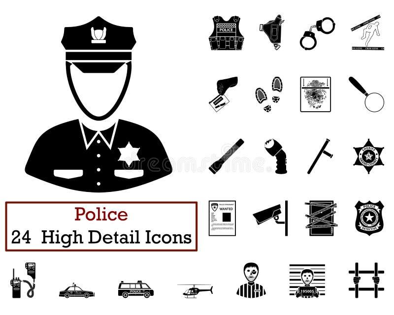 Комплект 24 значков полиции иллюстрация вектора