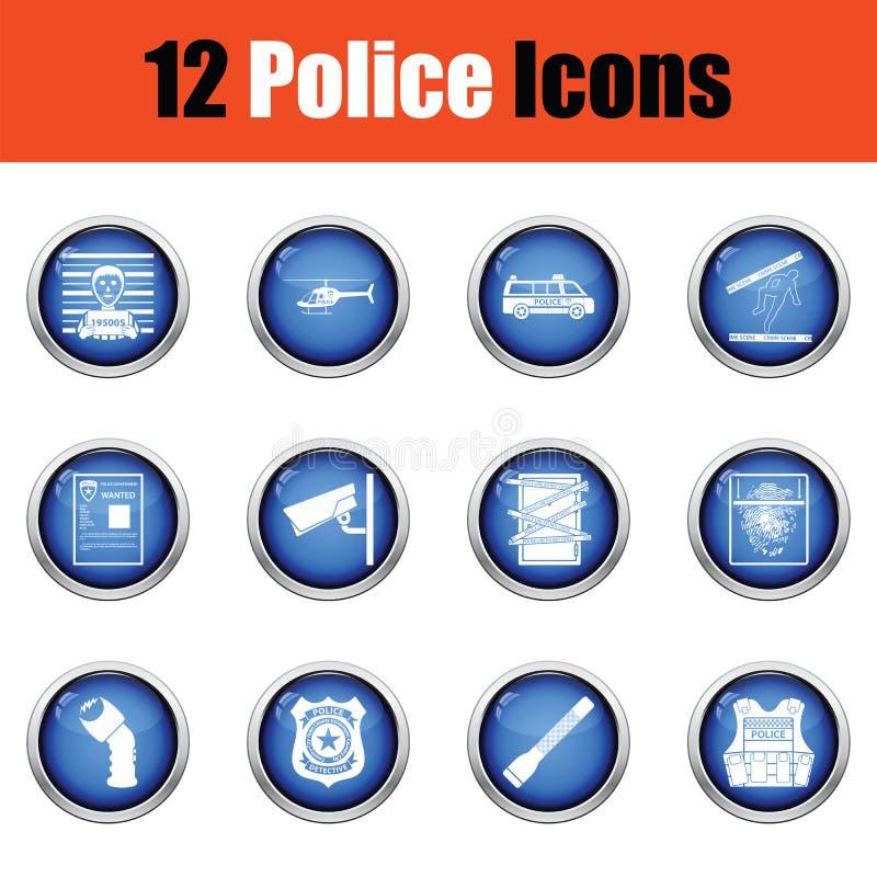 Комплект значков полиции иллюстрация вектора