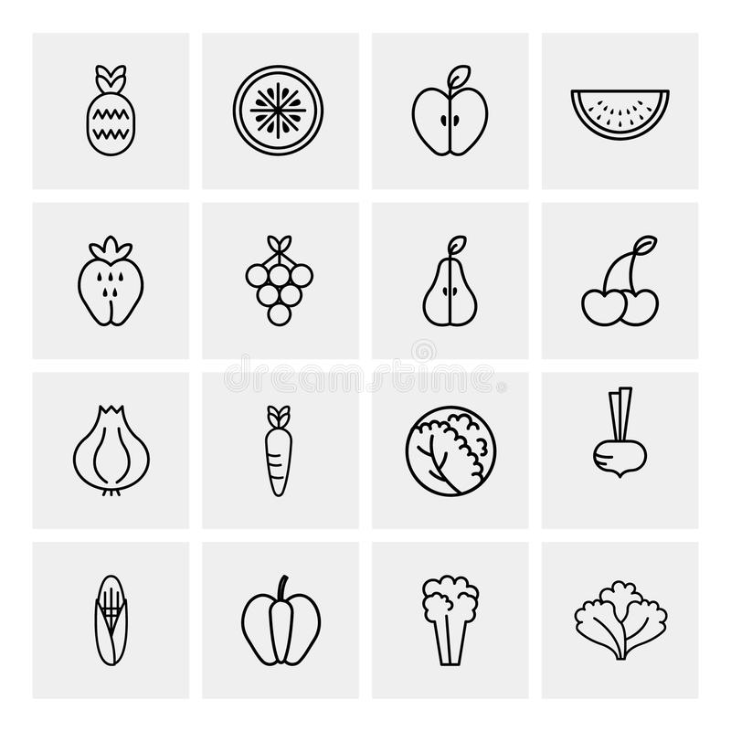 Комплект значков плана фруктов и овощей иллюстрация штока