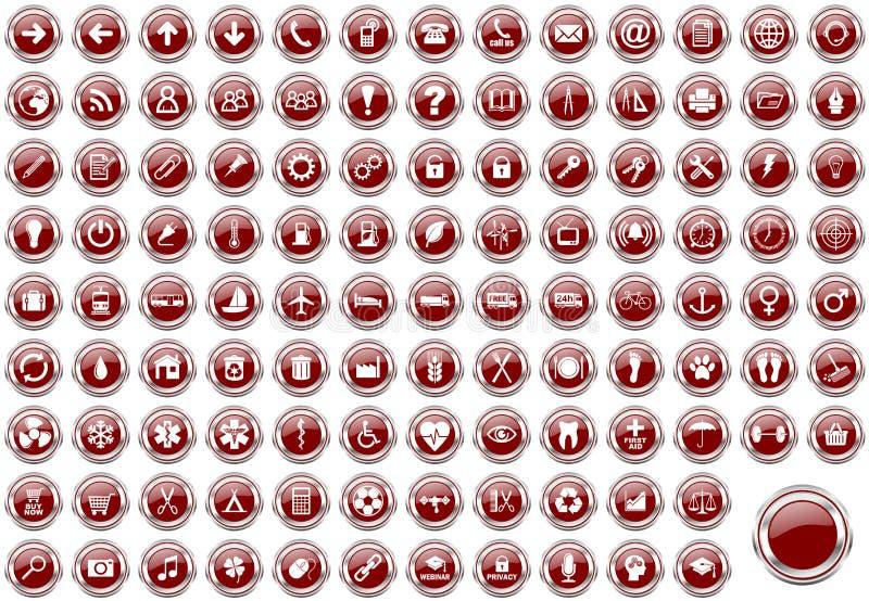 Комплект значков сети серебряной металлической границы красных иллюстрация вектора