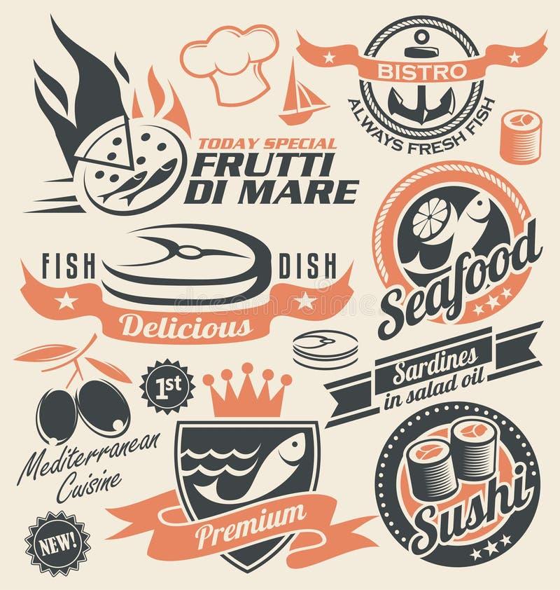 Комплект значков, символов, логотипов и знаков морепродуктов иллюстрация штока