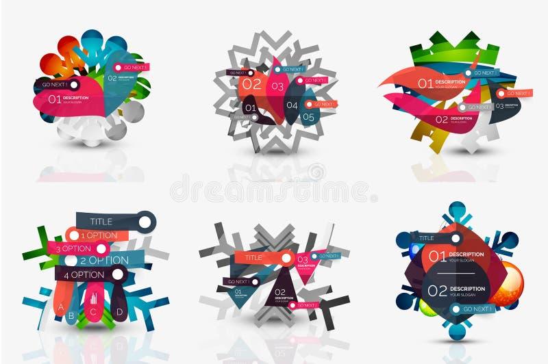 Комплект значков снежинки с ярлыками текста Рождество иллюстрация вектора