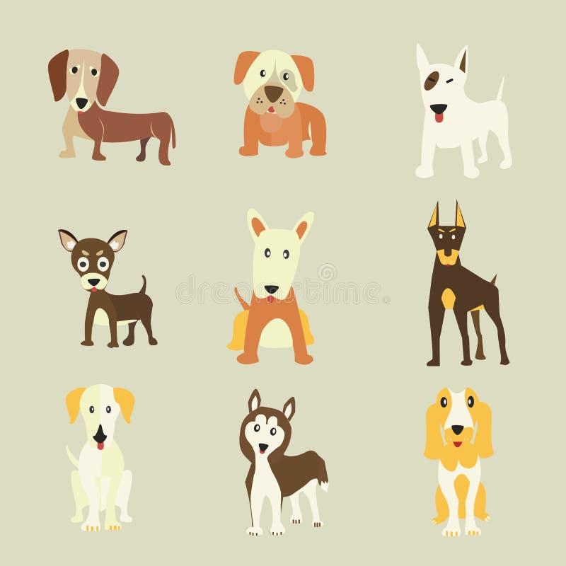 Комплект значков собак бесплатная иллюстрация