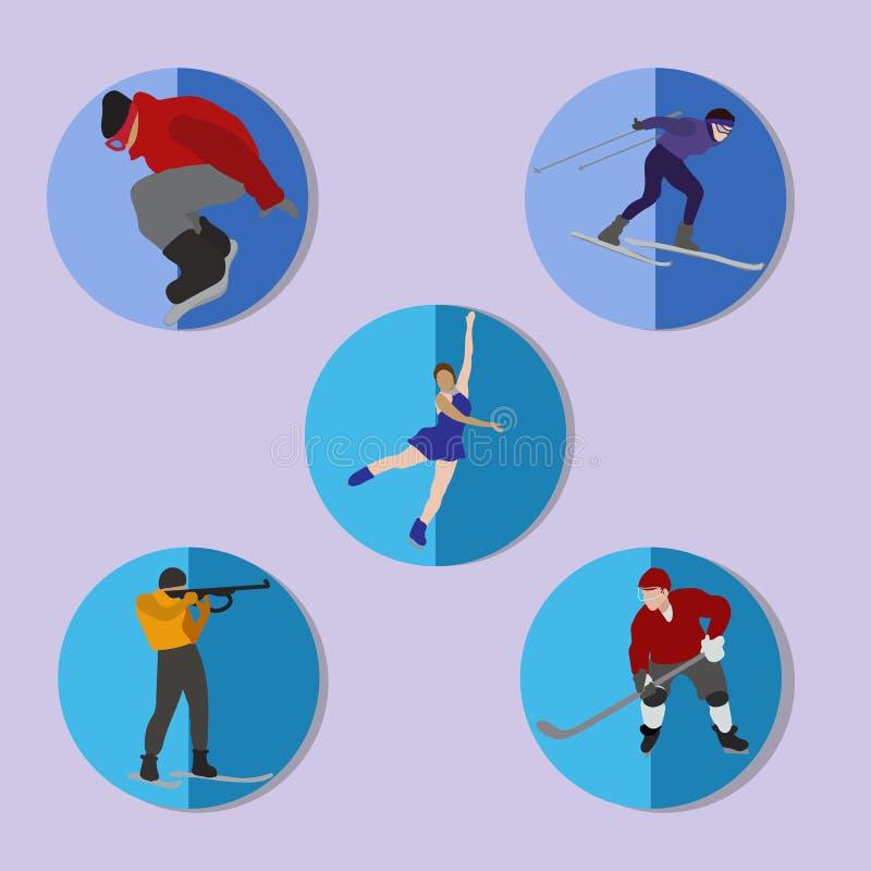 Комплект значков спорта зимы Сноубординг, катание на лыжах, катаясь на коньках, биатлон, хоккей бесплатная иллюстрация