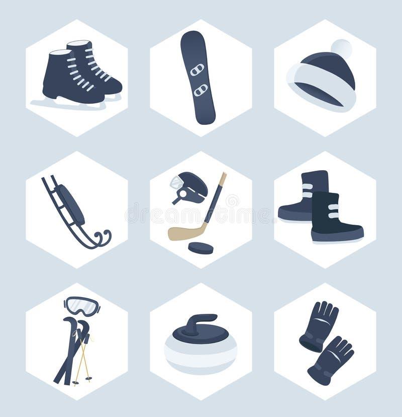 Комплект значков спорта зимы бесплатная иллюстрация