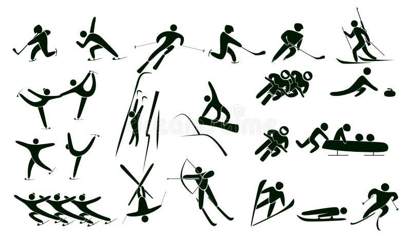 Комплект значков спорта зимы иллюстрация вектора