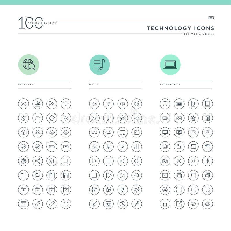 Комплект значков технологии для сети и черни иллюстрация штока