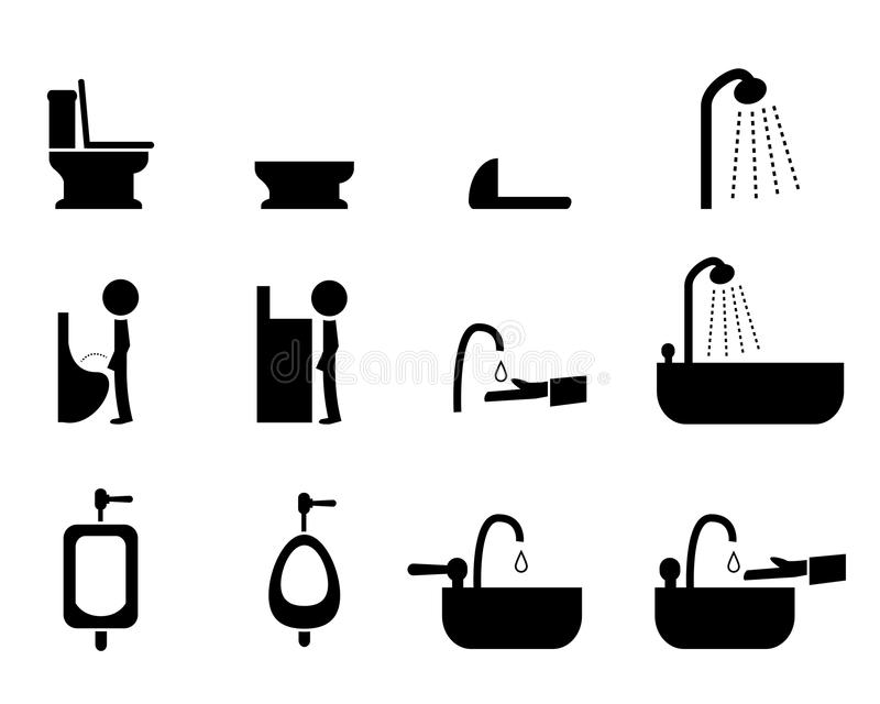 Комплект значков туалета в стиле силуэта, векторе бесплатная иллюстрация