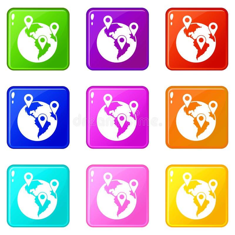 Комплект значков 9 указателей глобуса и карты иллюстрация вектора