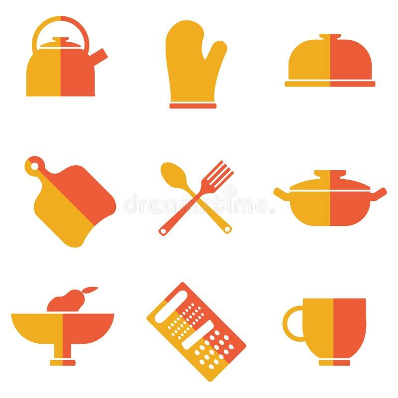 Комплект значков утварей кухни иллюстрация штока