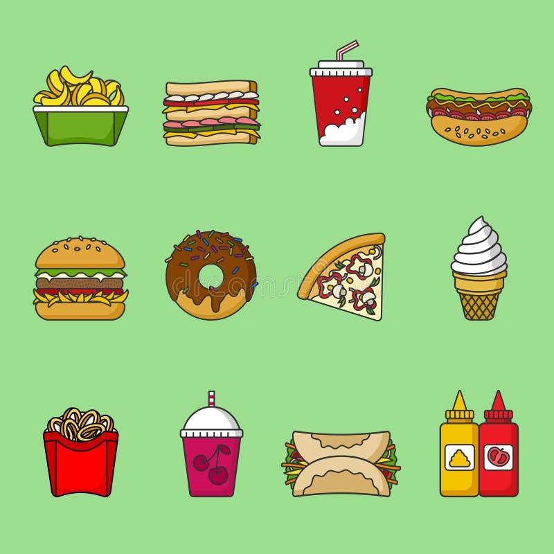 Комплект значков фаст-фуда Пить, закуски и помадки Красочное законспектированное собрание значка иллюстрация штока