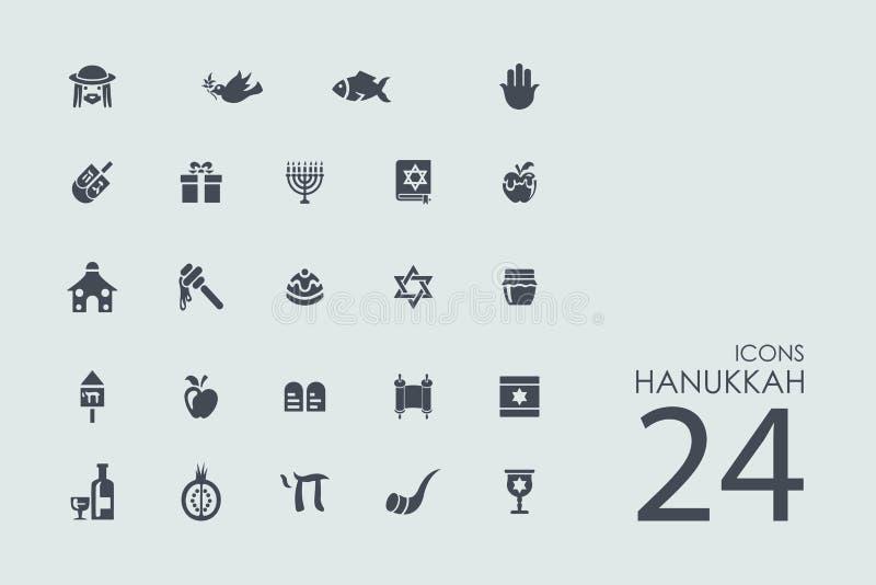 Комплект значков Хануки иллюстрация вектора