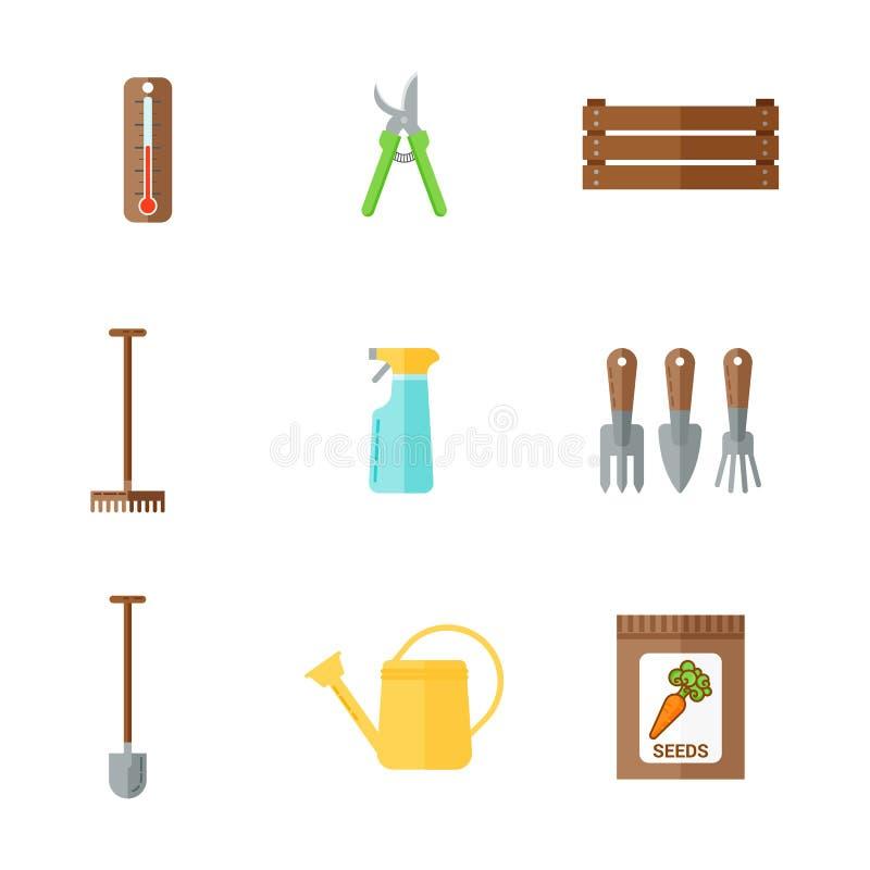 Комплект значков цвета плоских садовых инструментов Моча чонсервная банка, термометр, пакет с семенами, prunen, копает, грабли иллюстрация штока