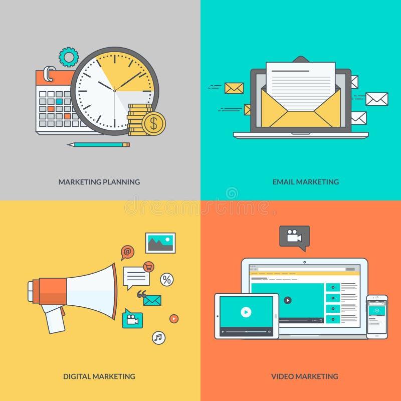 Комплект значков цветного барьера на теме цифрового маркетинга иллюстрация вектора