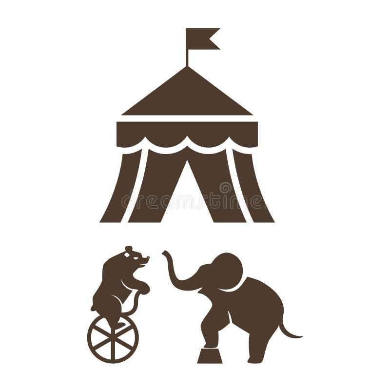 Комплект значков цирка силуэта иллюстрация вектора