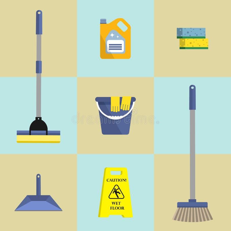 Комплект 7 значков чистящих средств иллюстрация штока