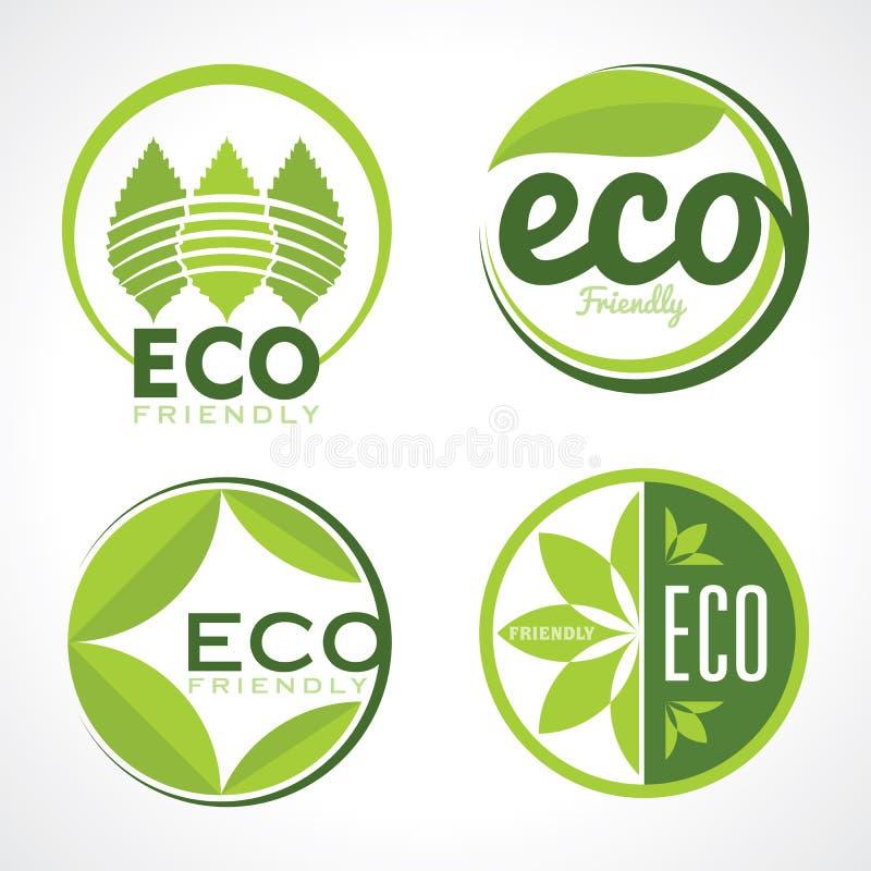 Комплект значков экологичности с зеленым цветом выходит в вектор иллюстрация штока
