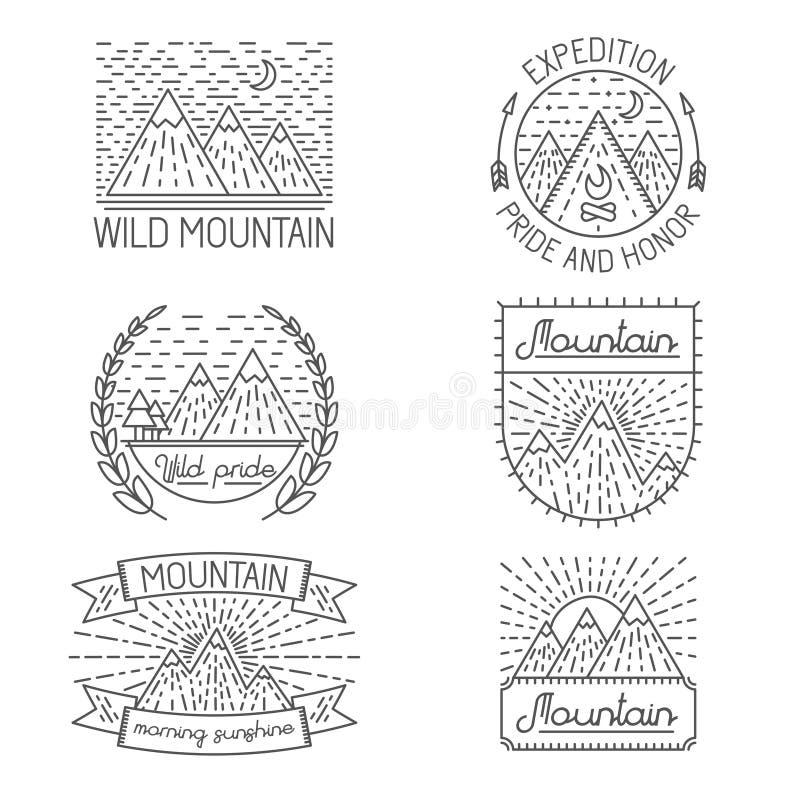 Комплект значков, ярлыков, элементов дизайна и иллюстрация вектора