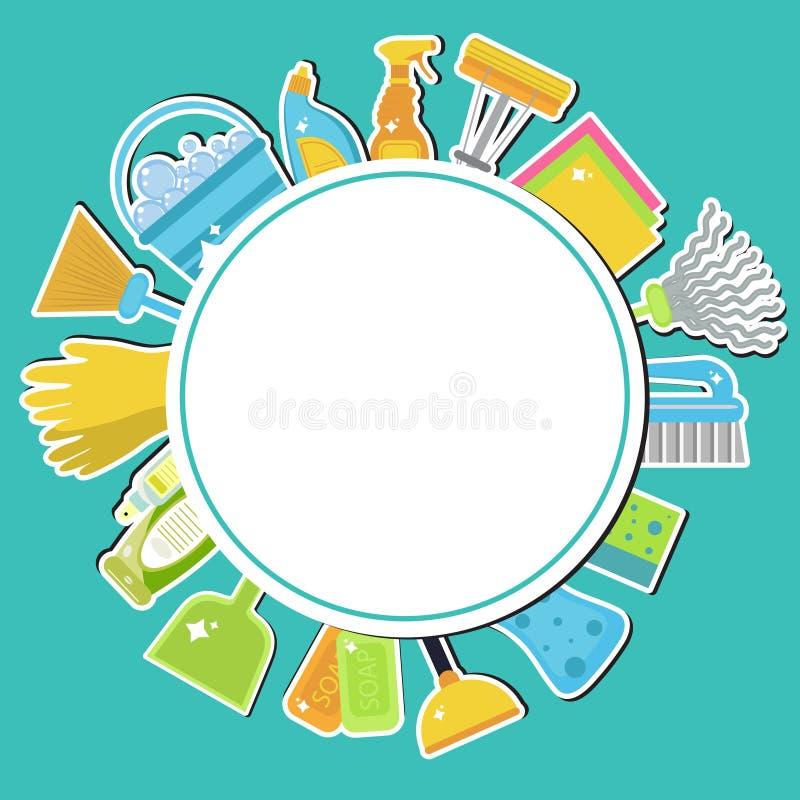 Комплект значков для очищая инструментов Чистка дома поставкы губок ткани чистки предпосылки новые померанцовые Плоский стиль диз бесплатная иллюстрация