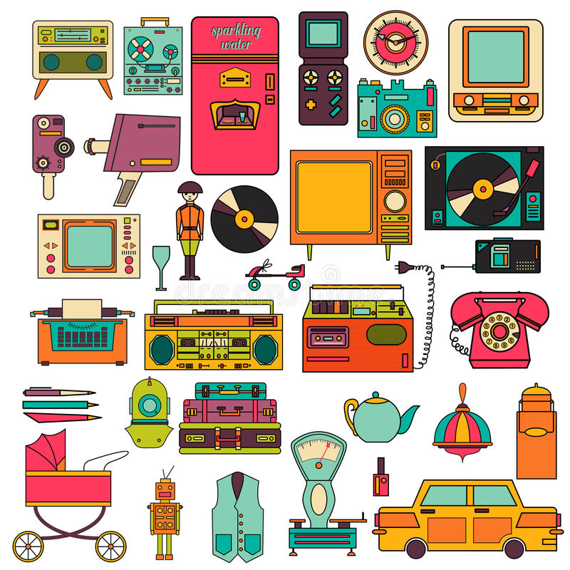 Комплект значков 80-90s цвета винтажных плоских электронных вектор бесплатная иллюстрация