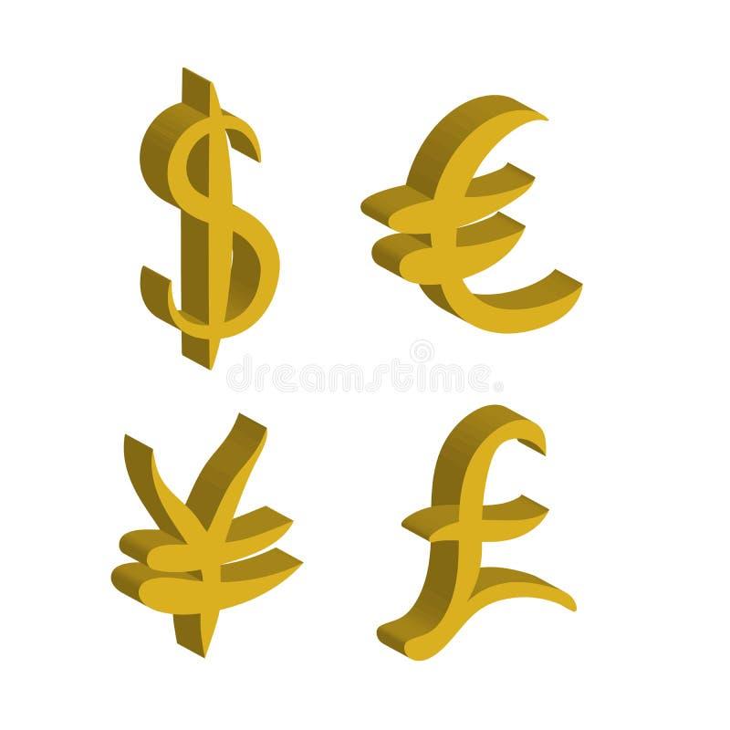 Комплект золота главным образом знаков валюты Знаки доллара и иен, евро и фунта также вектор иллюстрации притяжки corel иллюстрация штока
