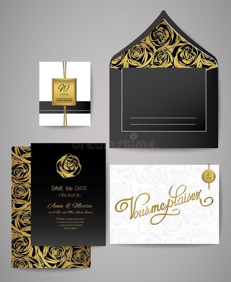 Комплект золота и черных флористических карточек приглашения Приглашения свадьбы, конверт, розовая картина иллюстрация вектора