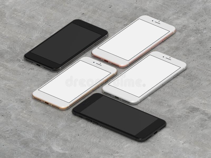 Комплект золота 4 smartphones, поднял, серебр и чернота иллюстрация штока