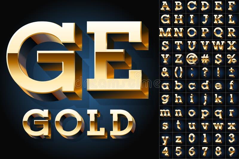 Комплект золотого алфавита 3D бесплатная иллюстрация