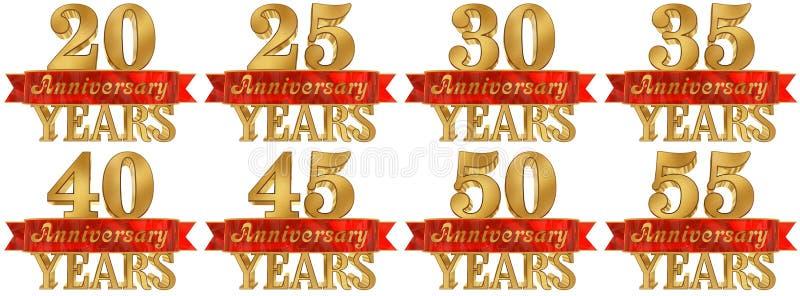 Комплект золотого числа и слово года иллюстрация 3d иллюстрация вектора