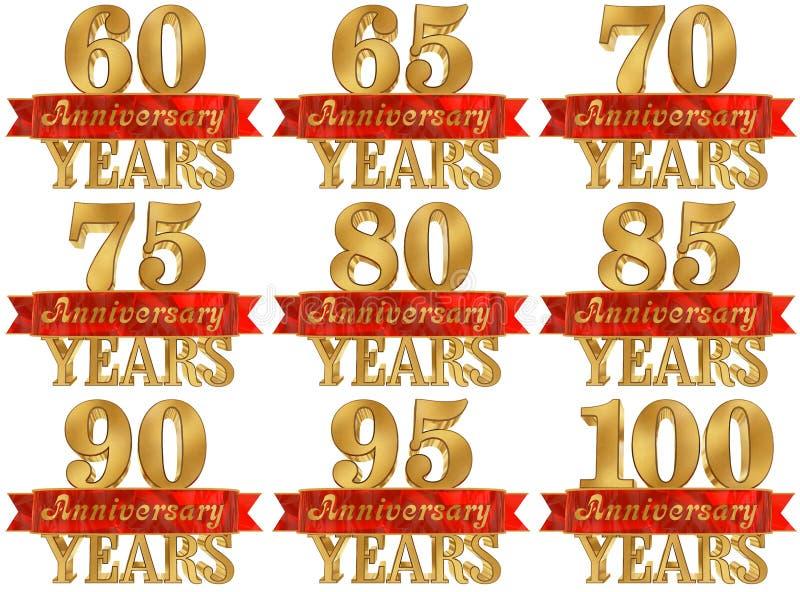 Комплект золотого числа и слово года иллюстрация 3d бесплатная иллюстрация