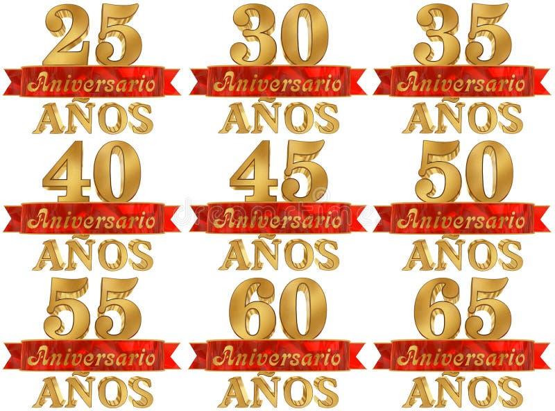 Комплект золотого числа и слово года Переведенный от испанского языка иллюстрация 3d иллюстрация вектора