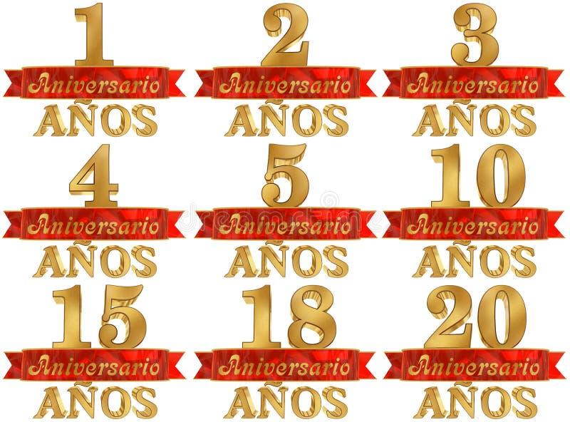 Комплект золотого числа и слово года Переведенный от испанского языка иллюстрация 3d бесплатная иллюстрация