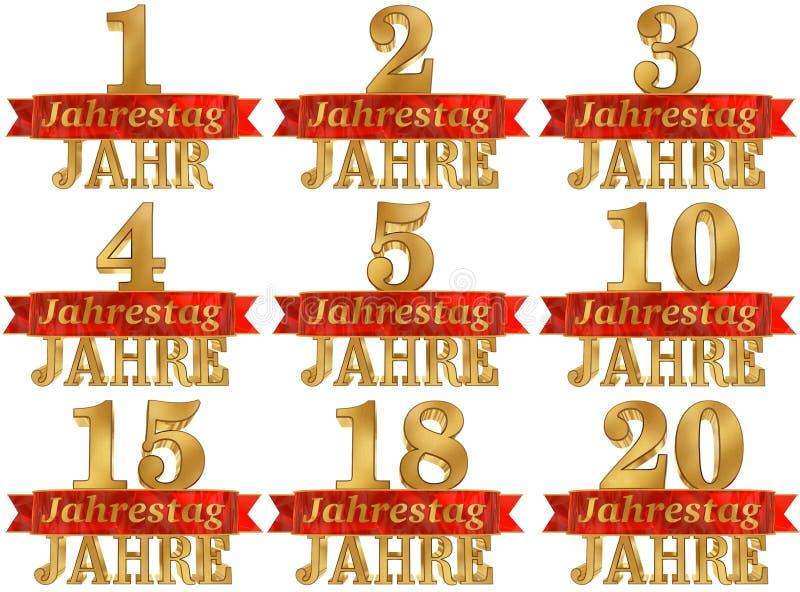 Комплект золотого числа и слово года Переведенный от немца иллюстрация 3d иллюстрация вектора