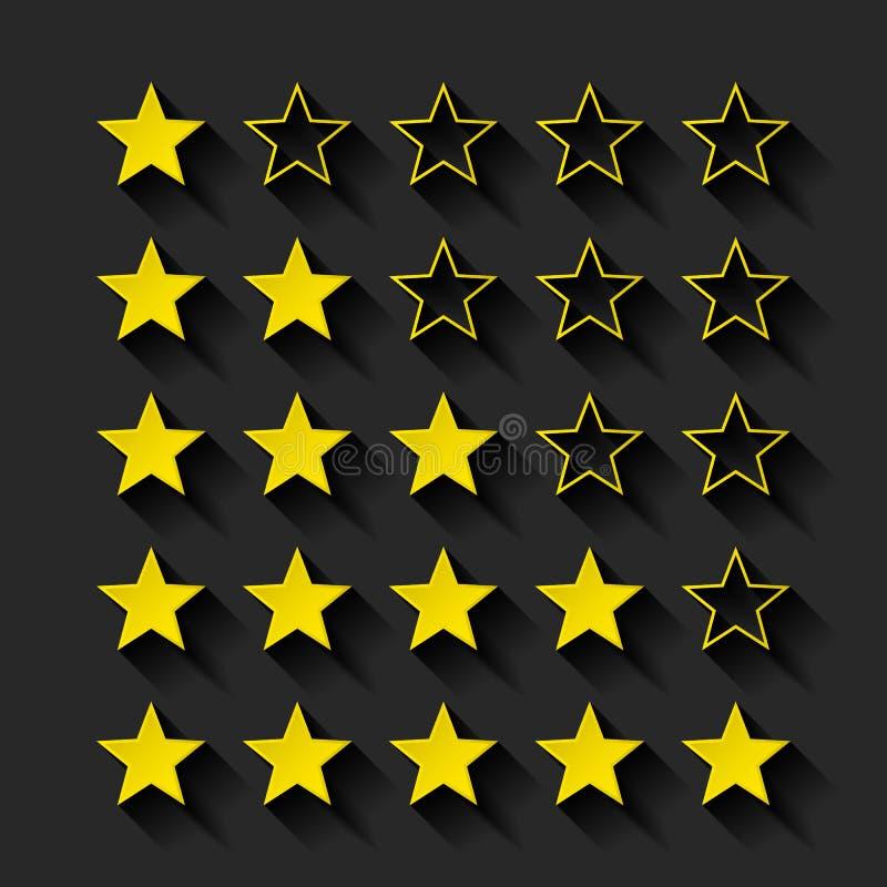 Комплект золотой классифицировать звезд бесплатная иллюстрация