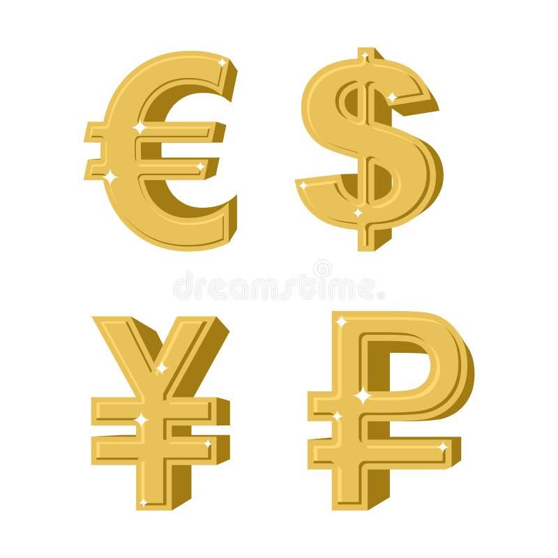 Комплект золотых денег символов Русский рубль Наличные деньги европейца евро иллюстрация штока