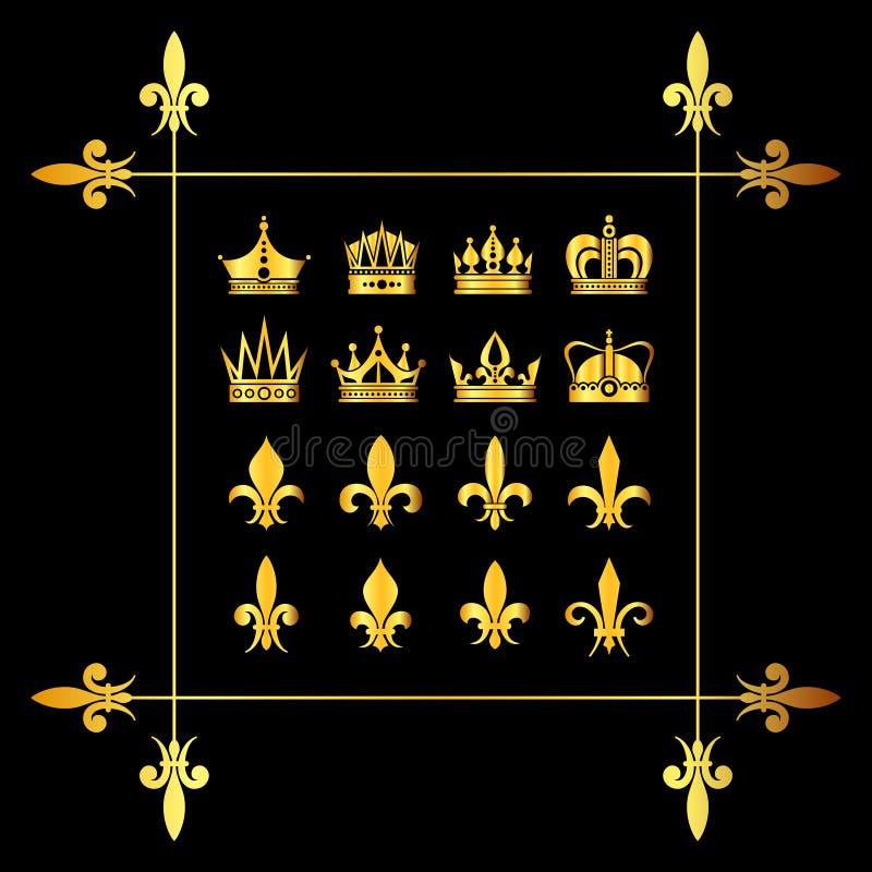Комплект золотых крон вектора и fleur de lys чернят бесплатная иллюстрация