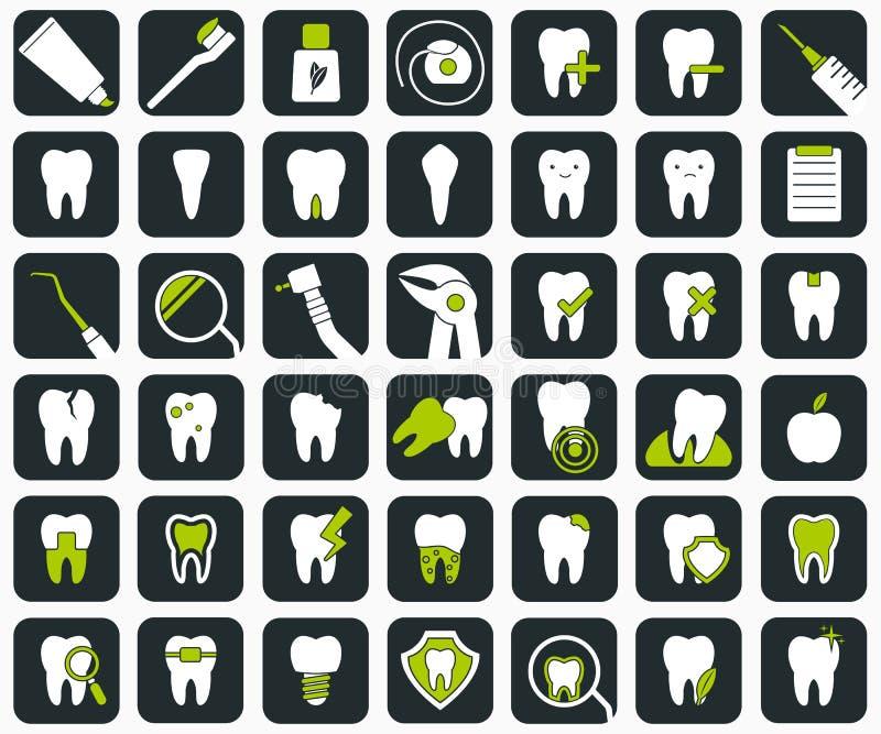 Комплект зубоврачебных икон иллюстрация вектора