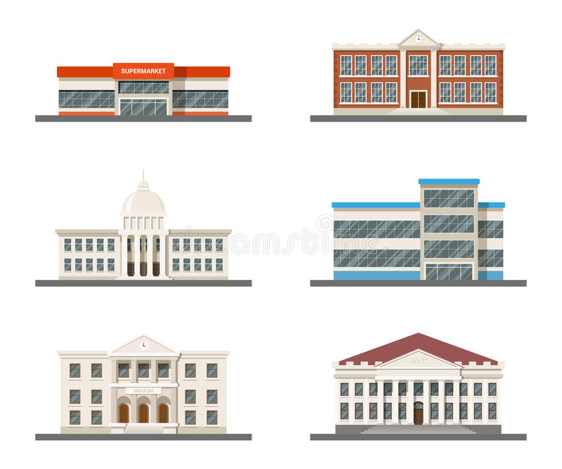 Комплект зданий города бесплатная иллюстрация