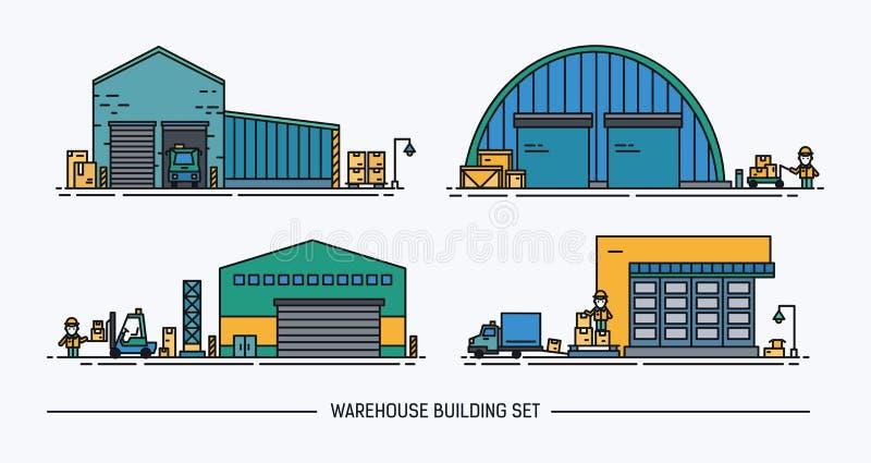 Комплект зданий склада различной формы с грузовым транспортом равновелико Lineart цветасто бесплатная иллюстрация