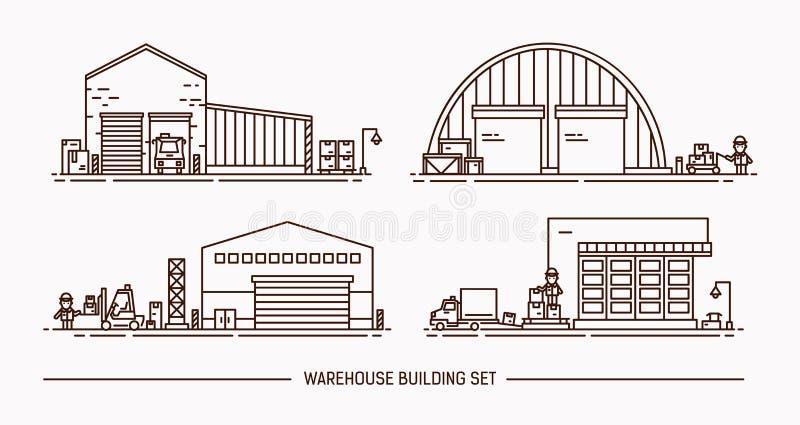 Комплект зданий склада различной формы с грузовым транспортом равновелико Lineart против влюбленности иллюстрации сердец пар конт иллюстрация вектора