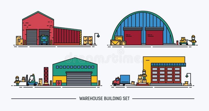 Комплект зданий склада различной формы с грузовым транспортом равновелико Lineart цветасто иллюстрация штока
