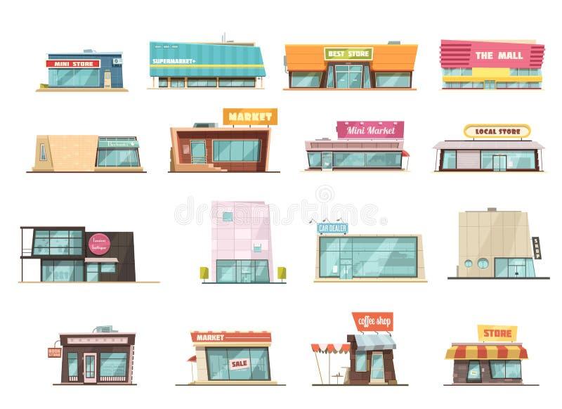 Комплект здания магазина иллюстрация вектора