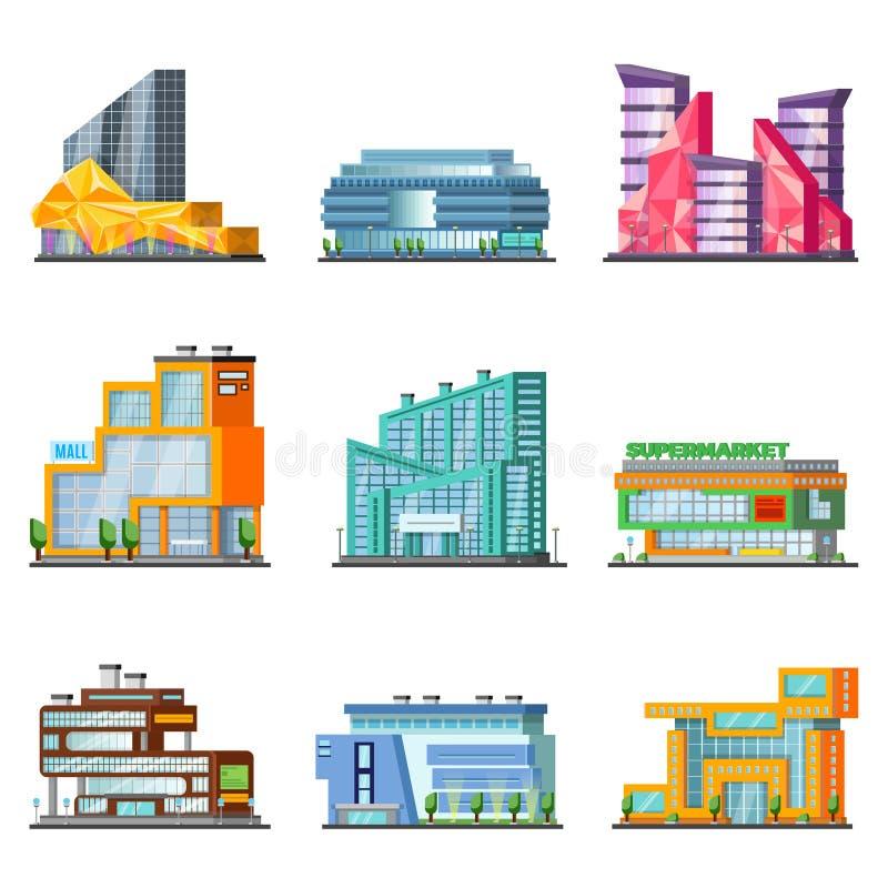 Комплект здания торгового центра иллюстрация вектора