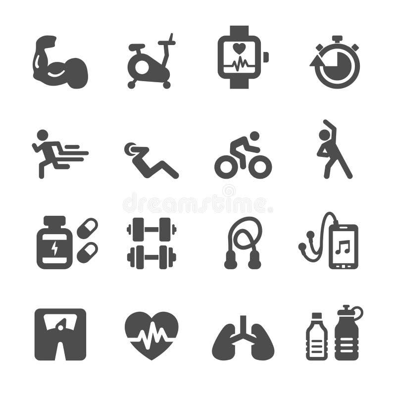 Комплект здоровых и фитнеса значка, вектор eps10 иллюстрация штока