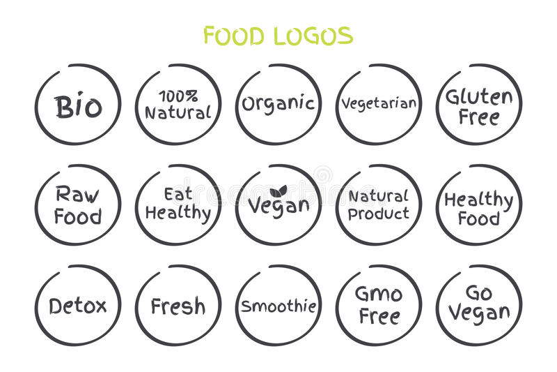 Комплект здоровых логотипов еды Еда био 100% естественной органической вегетарианской клейковины вектора свободная сырцовая ест н бесплатная иллюстрация