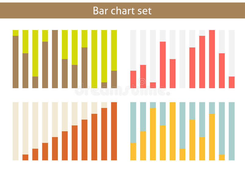 Комплект диаграммы в виде вертикальных полос иллюстрация вектора