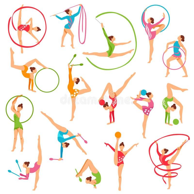 Комплект диаграмм девушки гимнаста цвета иллюстрация вектора
