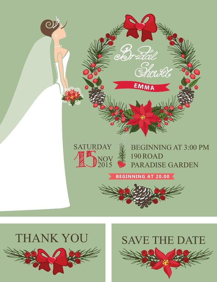 Комплект ливня зимы Bridal Невеста, венок рождества, иллюстрация штока