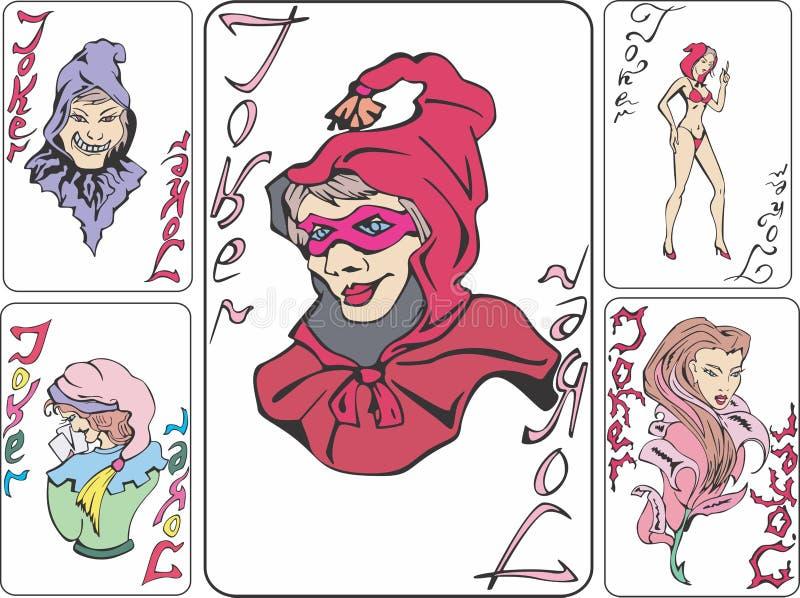 Комплект играя карточек с шутниками как ведьмы иллюстрация вектора